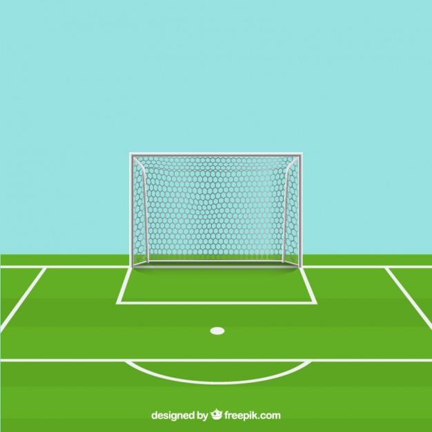 Soccer ball, field and goal Vector.