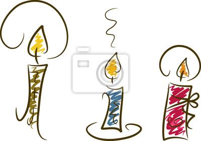 Carta da parati clipart set: candele, disegnati a mano e colorati.