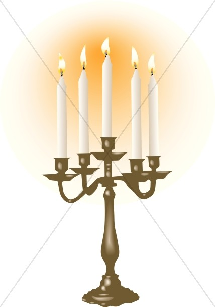 White Candles in Candelabra.