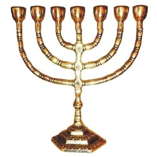 Candelabro Menorah Judaica De Bronze 28cm Polido.