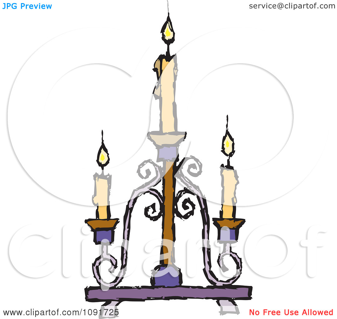 Clipart Yellow Candles Burning On A Candelabra.