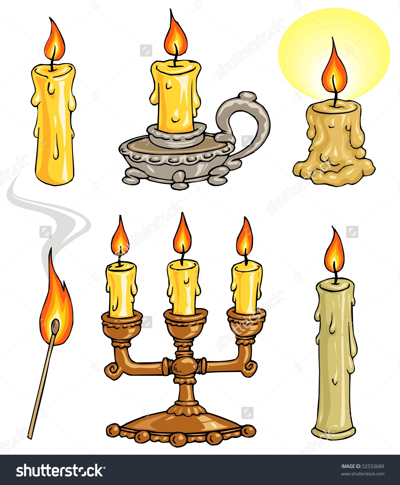 Cartoon Candles Candelabrum Illustrations Clip Art Stock Vector.
