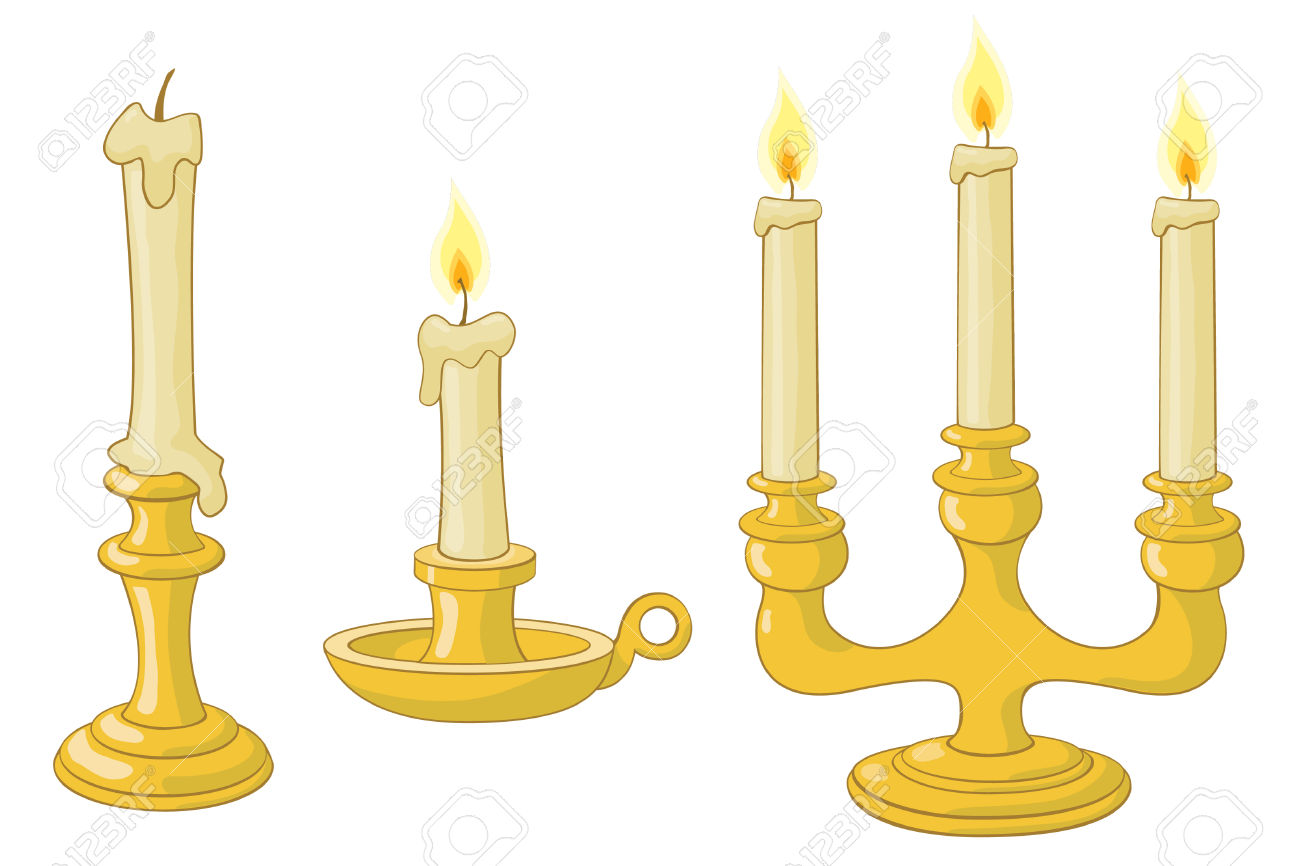 Candles And Candlesticks And Candelabrum Royalty Free Cliparts.