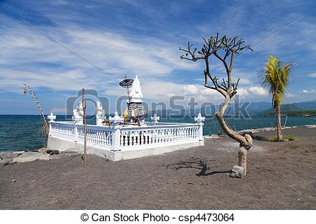 Stock Photo of Temple and Beach at Candidasa, Bali, Indonesia.