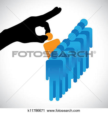 Clip Art of Concept illustration of hiring the best candidate. The.