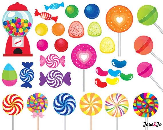 52 Candy clipart,candy clip art,printable,lollipop clipart,rainbow.