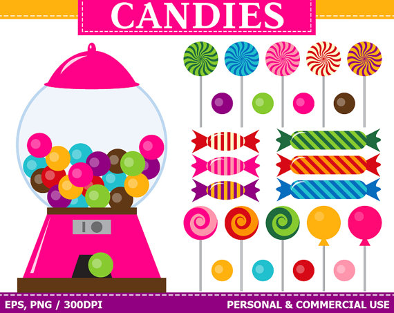 BUY 1 GET 1 FREE Digital Candies Clip Art Gum by TheCreativeMill.