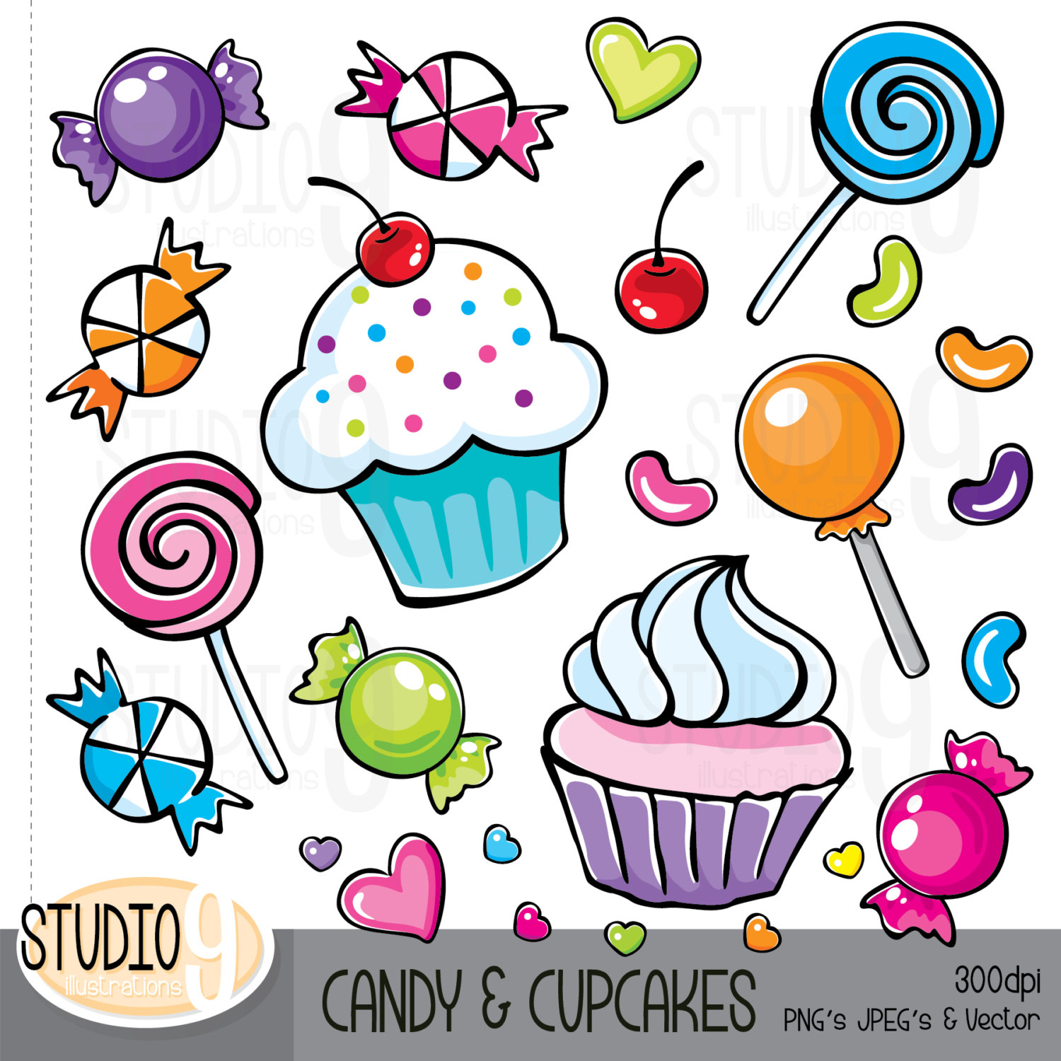 CANDY & CUPCAKES Clip Art: Candy Clipart by STUDIO9illustrations.