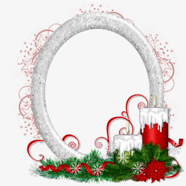 Christmas candle decoration oval border PNG clipart.