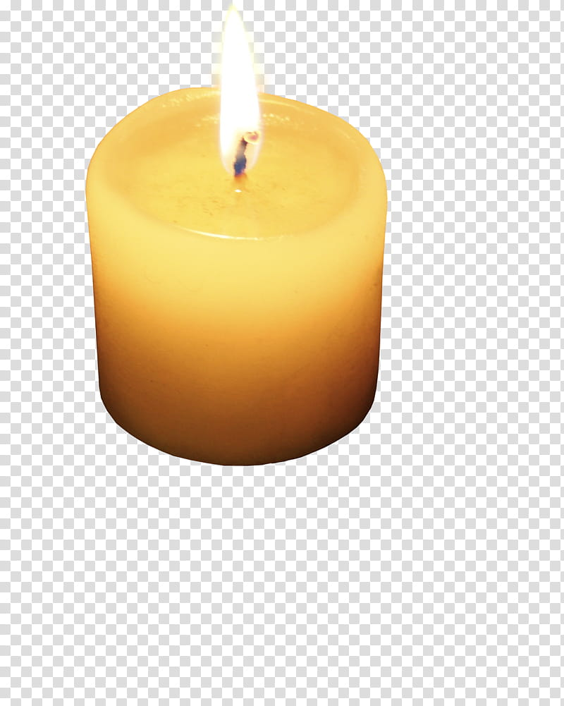 Burning candle, yellow tealight candle with light transparent.