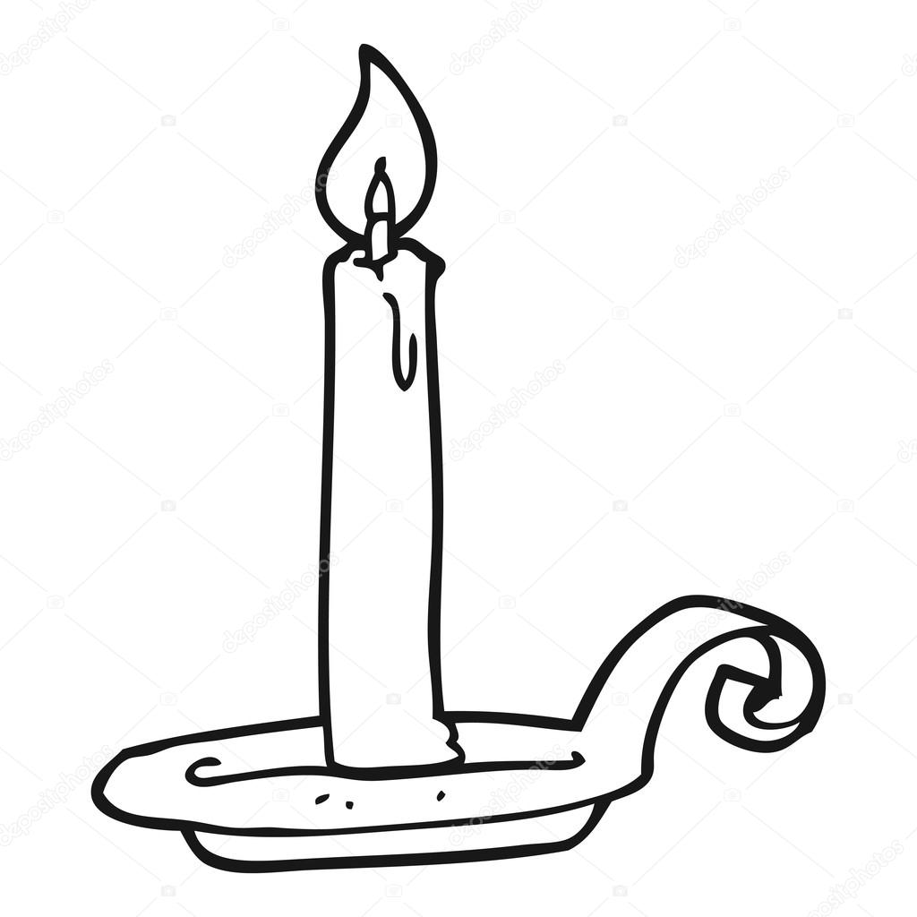 Clipart: candles black and white.