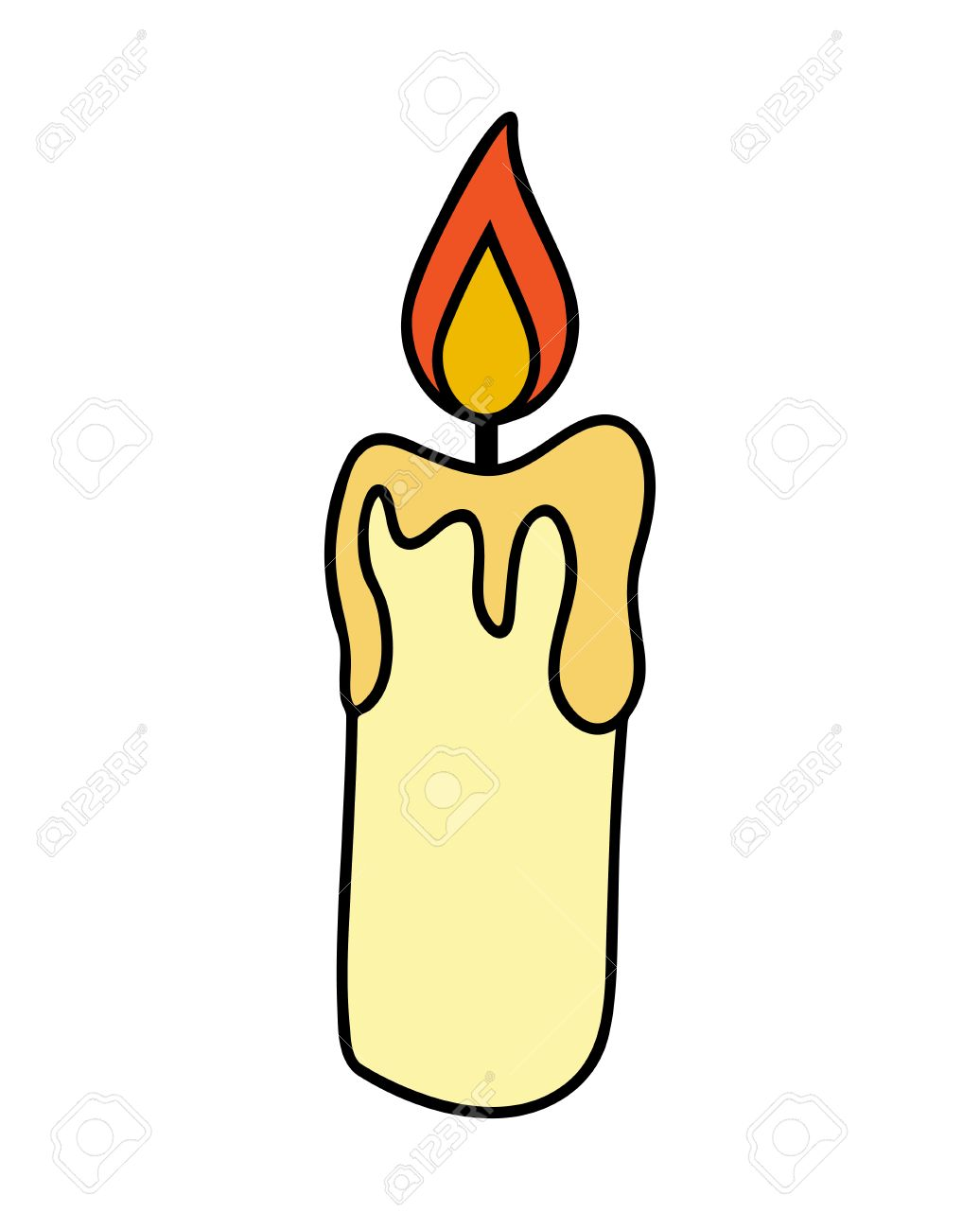 Christmas candle, burning wax candle icon, symbol, design. Winter...