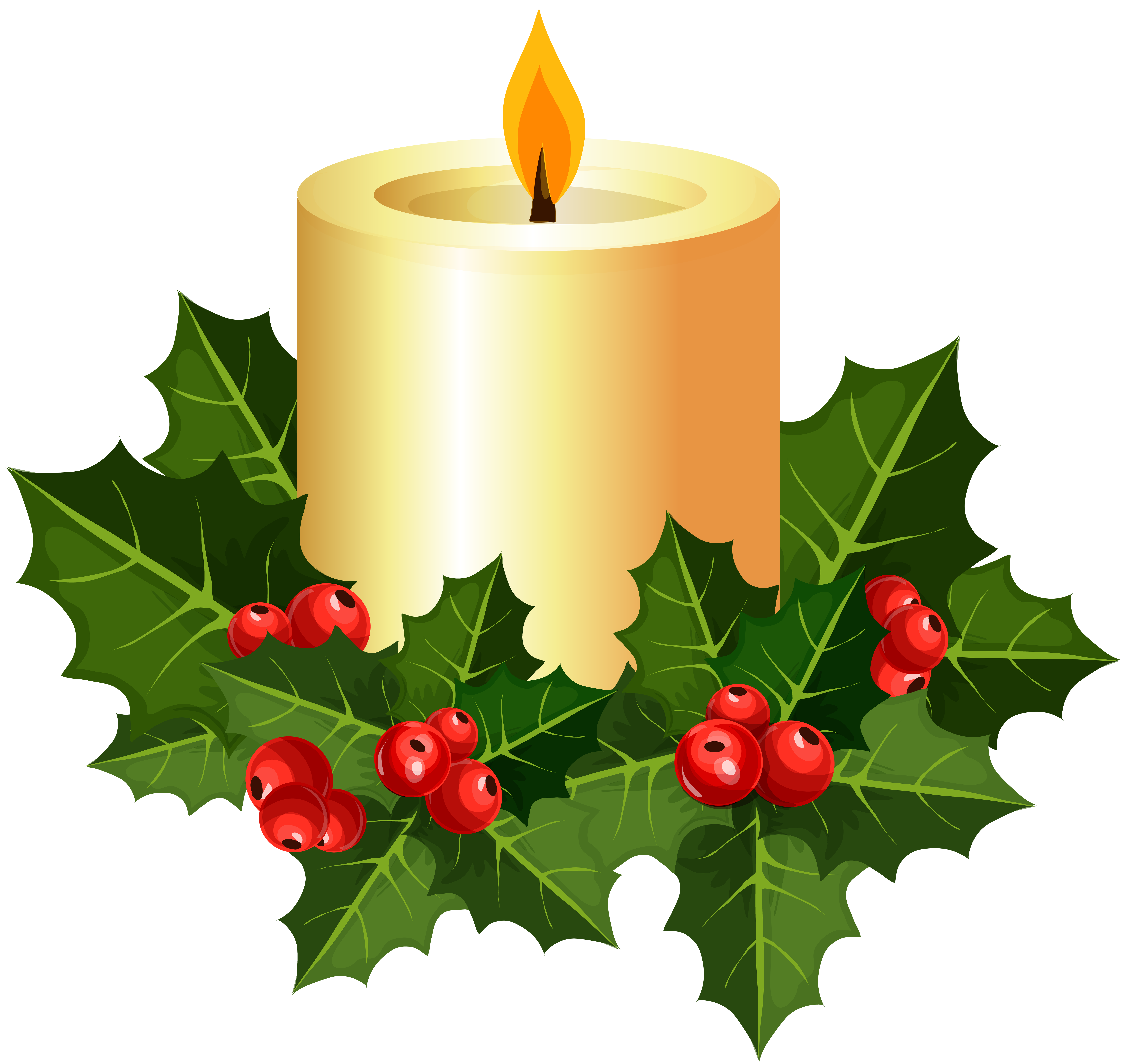 Christmas Candle Transparent PNG Clip Art.