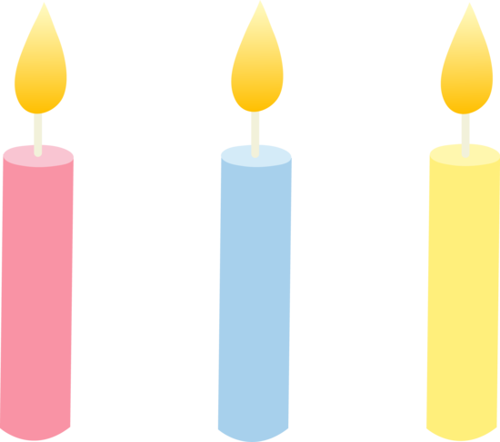 Three Pastel Colored Birthday Candles.
