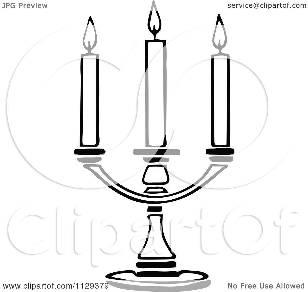 Black and White Clip Art Candle Holder.
