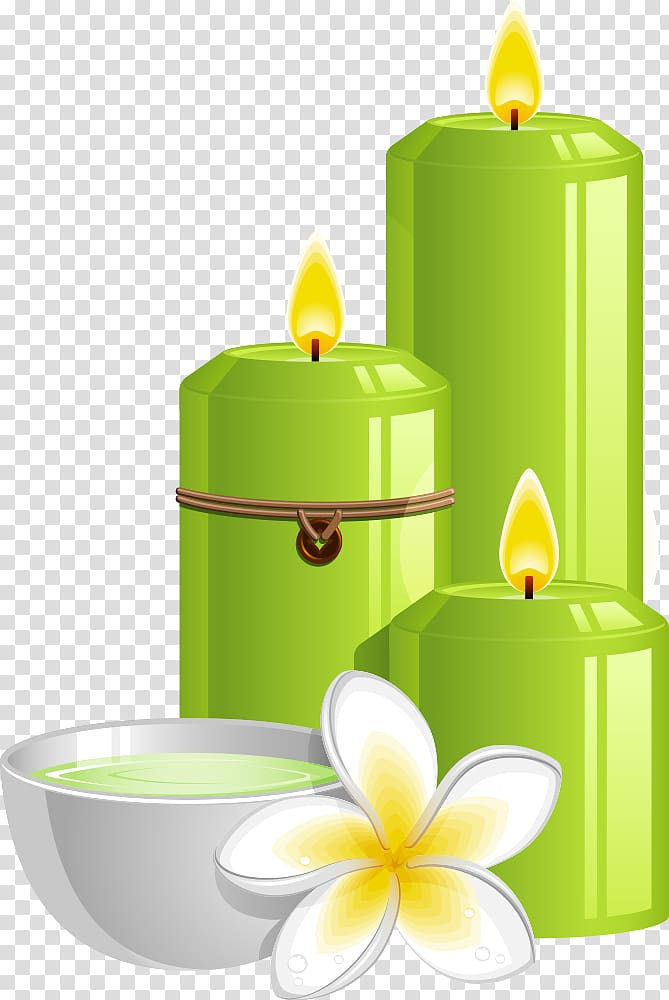 Spa Illustration, green candles and frangipani transparent.