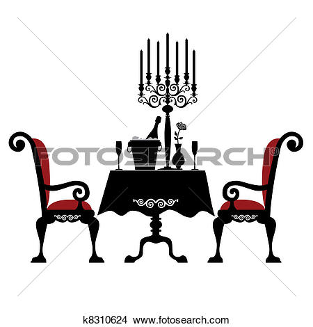Stock Illustration of Drawing of a romantic table setting with two.