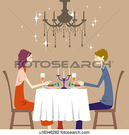Candlelight family dinner clipart.