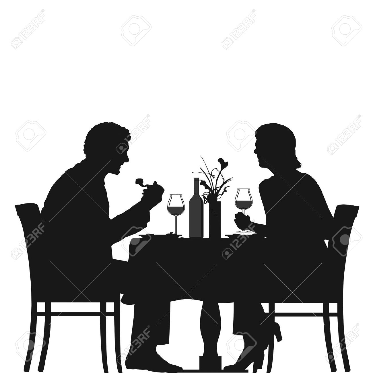 Eat dinner candlelight clipart black and white.
