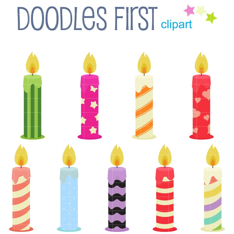 Fun Birthday Candles Digital Clip Art for Scrapbooking Card Making Cupcake  Toppers Paper Crafts.