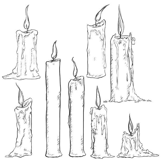 Royalty Free Drawing Of A Candle Burning Clip Art.