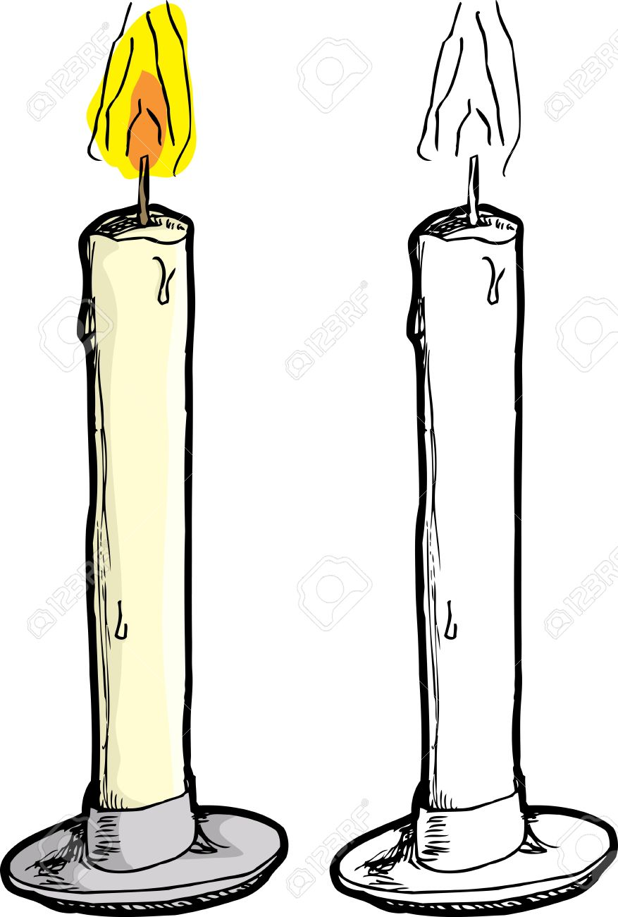 Burning Wax Candle In Holder Over White Background Royalty Free.