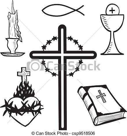 Clip Art Vector of Christian hand.