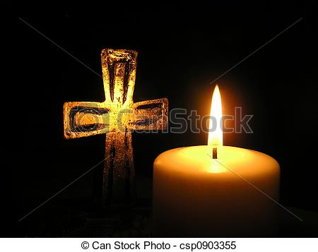 Stock Images of candle light and cross.