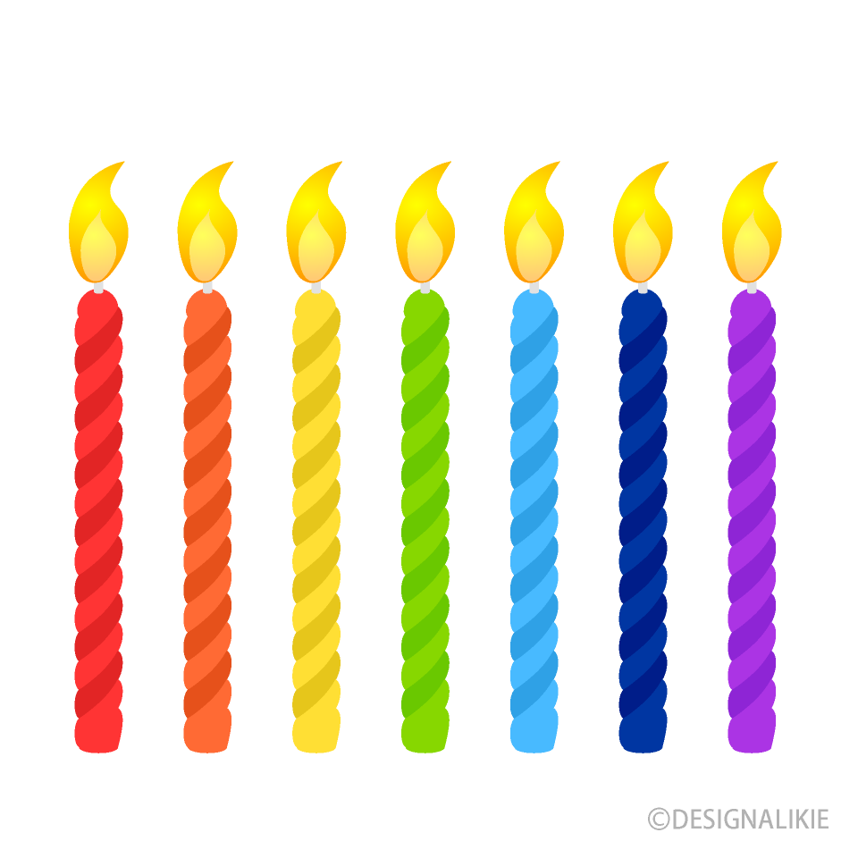 Free Rainbow Candles Clipart Image|Illustoon.