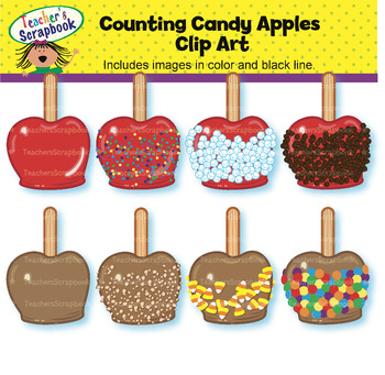 Counting Candy Apples Clip Art.