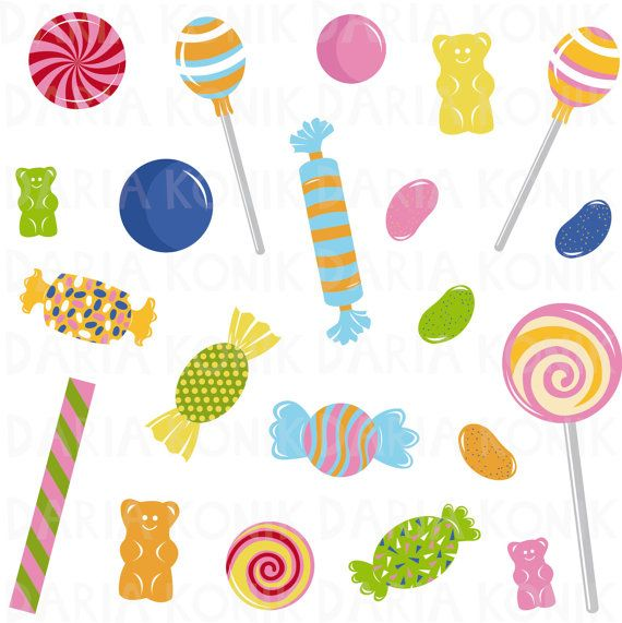 Candy Clip Art Set, sweets clipart, perfect for scrapbooking.