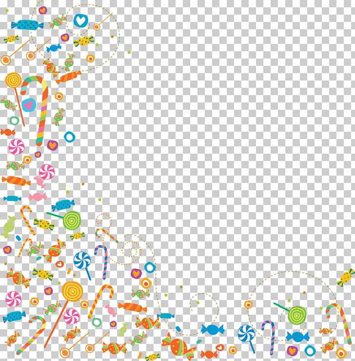Gift Album, candy border, multicolored candies frame PNG.