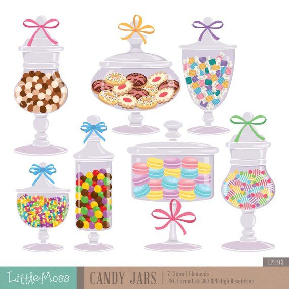 Candy Jars Digital Clipart, Cookie Jar Clipart in 2019.