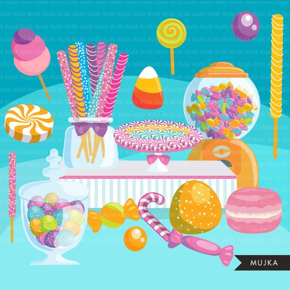 Candy Clipart. Candyland bar display, sweet, lollipop, candy.