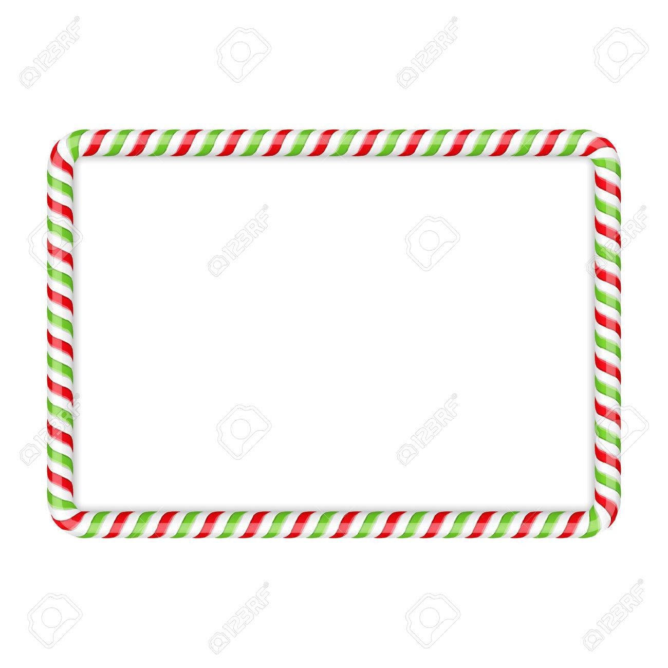 Frame made of candy cane, red and green colors.