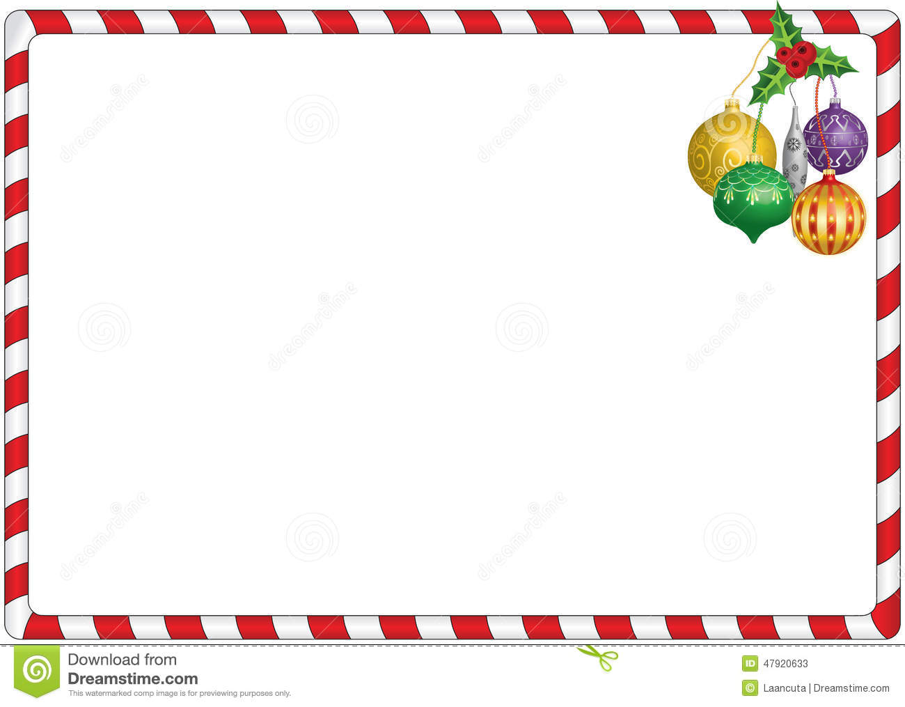 white candy border with hanging decorations. Candy Cane Border.