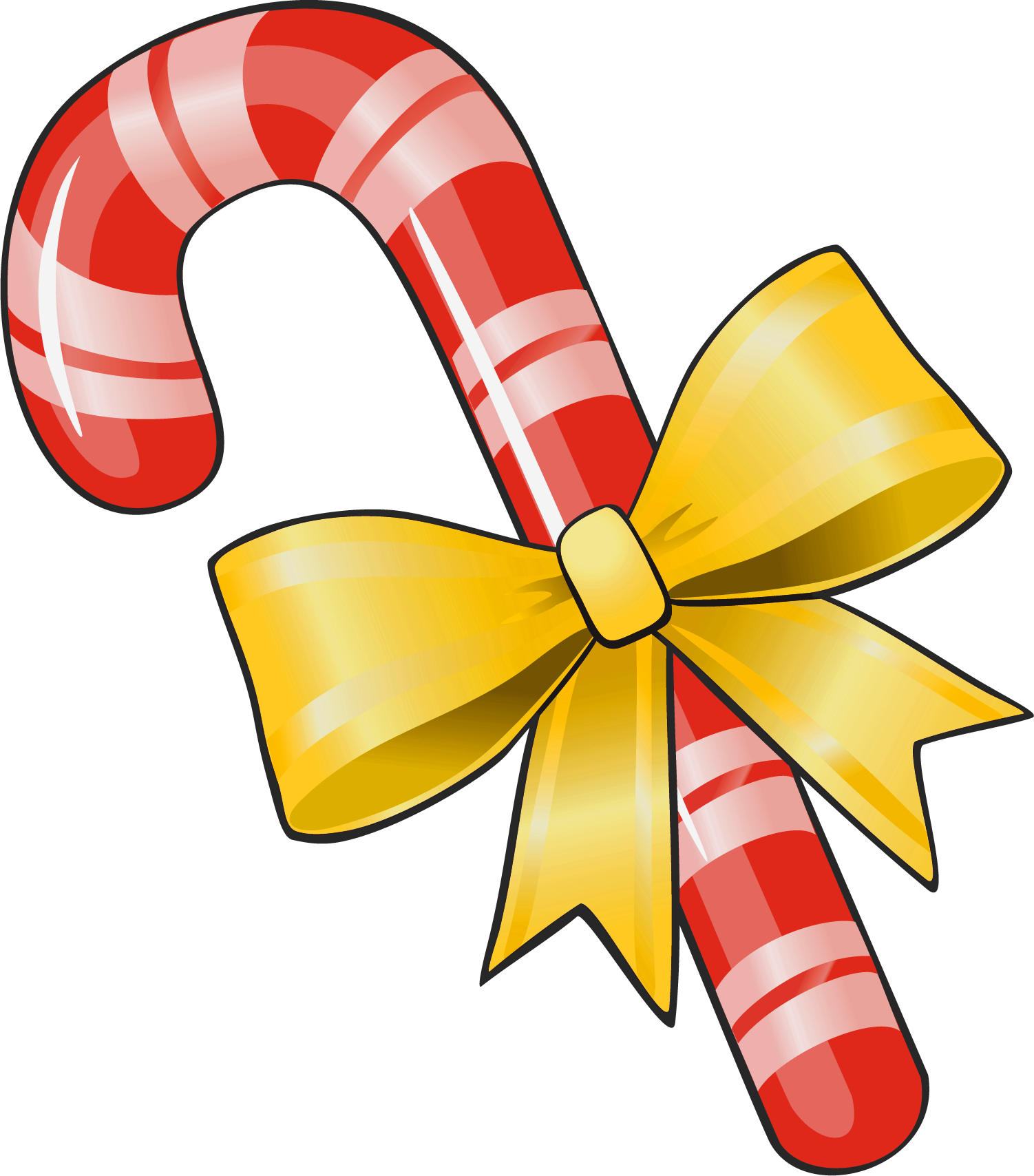 Transparent Christmas Candy Cane with Yellow Bow PNG Clipart.
