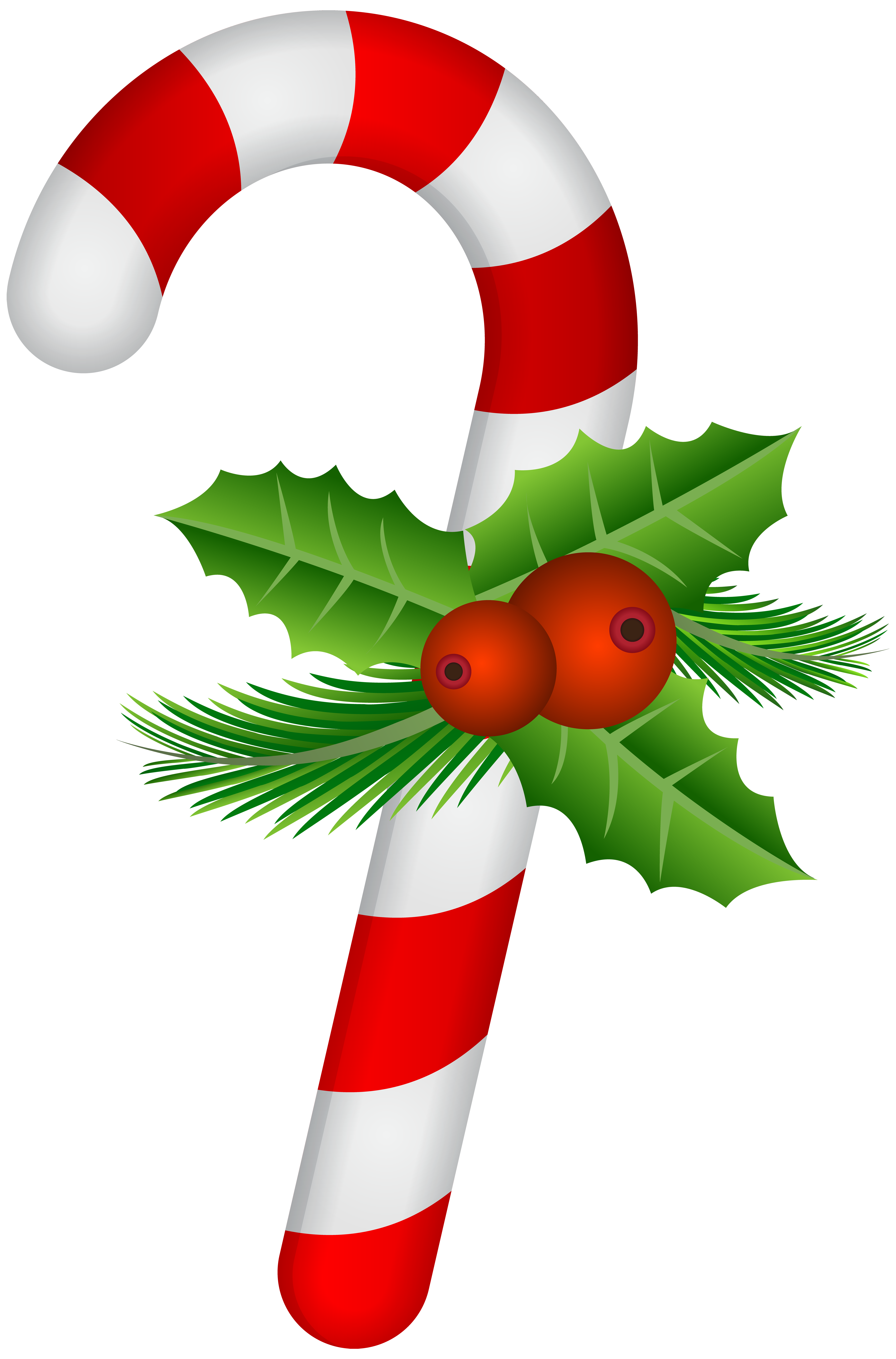 Candy Cane with Holly Transparent PNG Clip Art.