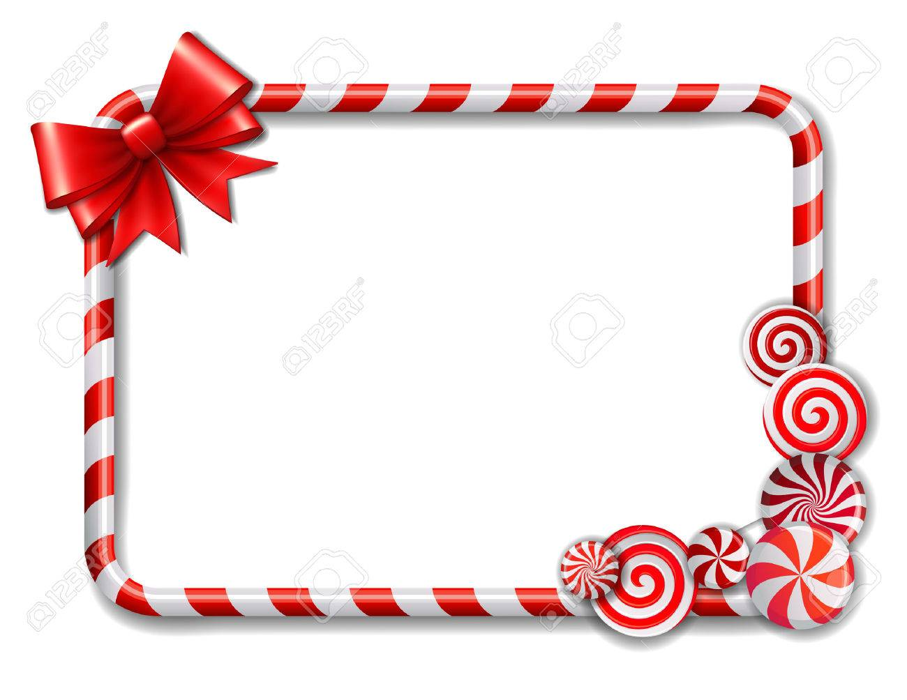Frame made of candy cane, with red and white candies and red...