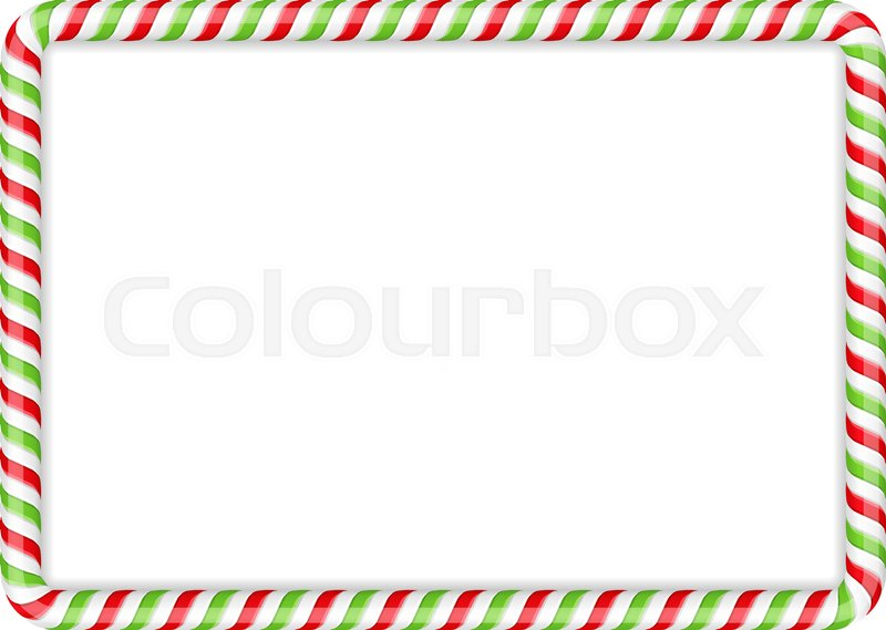 Frame made of candy cane, red and.