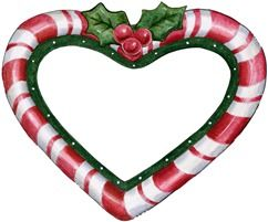 CHRISTMAS CANDY CANE HEART CLIP ART.