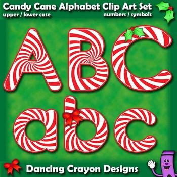Candy Cane Alphabet Letters Clip Art.