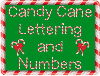 Candy Cane Letters and Numbers Clip Art.