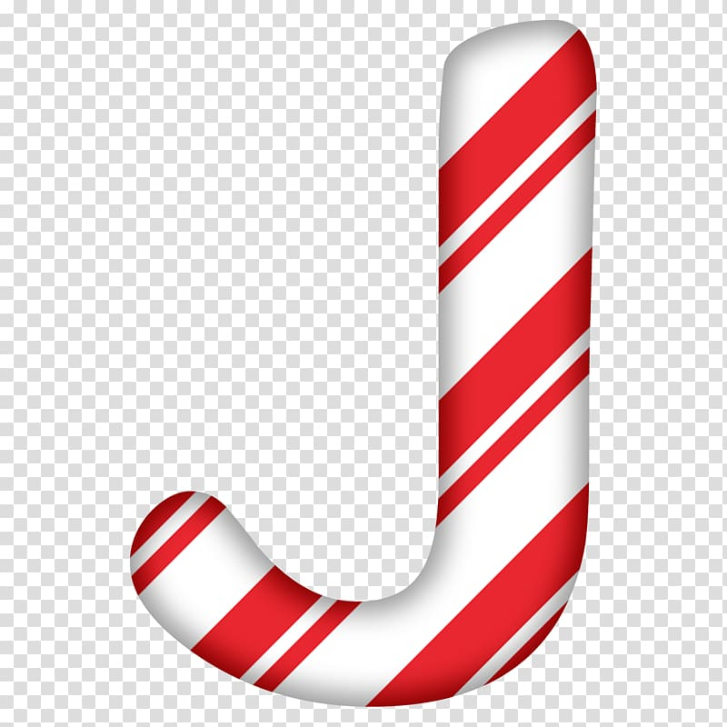 Candy cane Christmas Day Letter Alphabet J, candy cane letter.