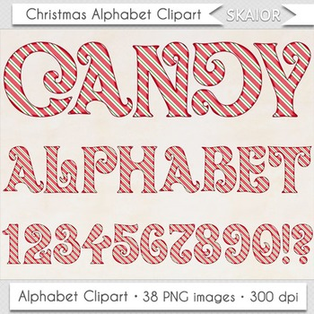 Christmas Alphabet Clipart Red Candy Cane Letters Numbers Digital Text  Printable.