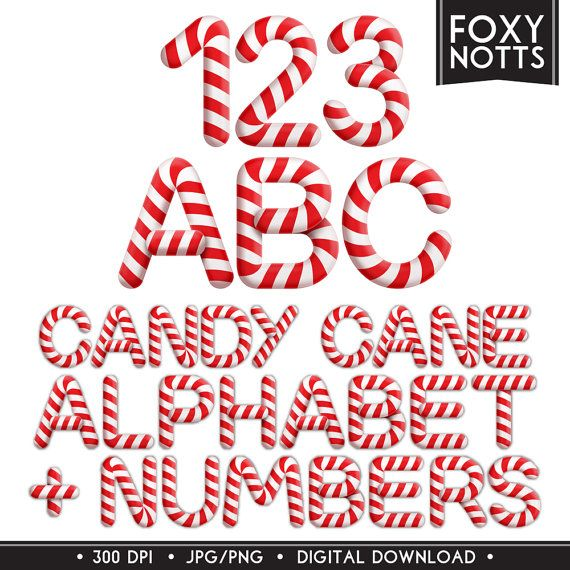 Candy Cane Christmas Alphabet & Numbers Font: Digital by foxynotts.