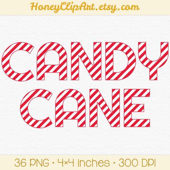 Digital Candy Cane Letter Clip Art Christmas Alphabet.