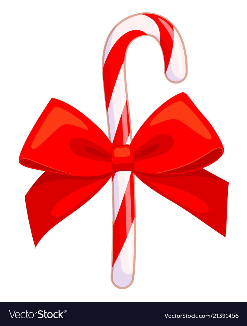 Colorful cartoon candy cane with red bow.