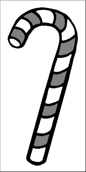 Clip Art: Candy Cane Grayscale I abcteach.com.