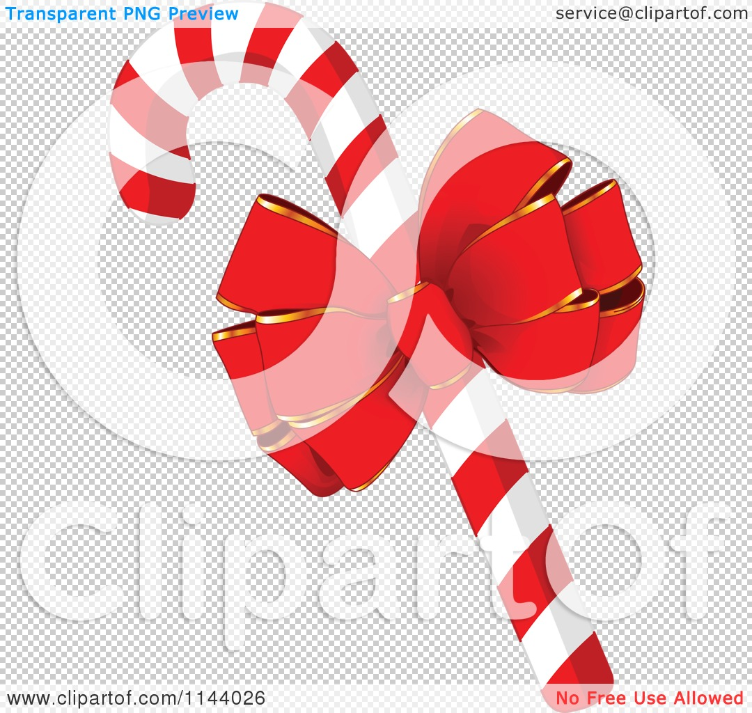 Cartoon Of A Christmas Peppermint Candy Cane With A Red Bow.